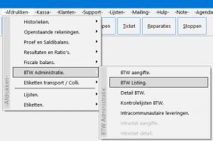 BTW-listing menu